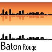 Baton Rouge skyline in orange background