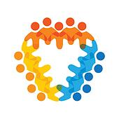 Concept vector graphic- colorful corporate employees teams icons