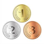 Golden, silver and bronze medal set. Isolated with clipping path,