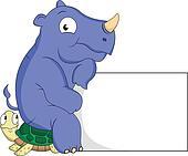 turtle and rhino cartoon