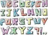 Colorful sketchy hand drawn alphabet