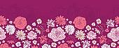 Purple pink flower silhouettes horizontal seamless pattern background border