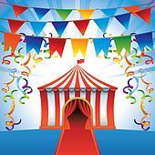 Vector circus tent - bright icon