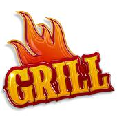 hot grill label isolated on white background