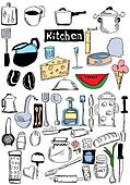 doodle kitchen and food