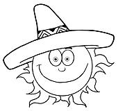 Outlined Smiling Sun With Sombrero