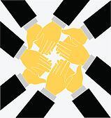 Teamwork clapping hands logo vector