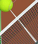 ball flying over tennis net