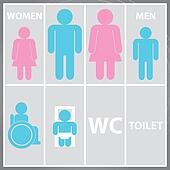 Toilet Sign with Toilet, Men and Women WC