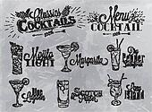 Set of cocktail on gray background