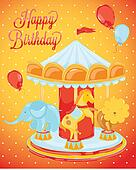 Birthday card with carousel