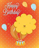 Birthday card with leo