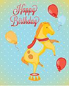 Birthday card-style circus horses