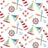 Pattern marine theme ships