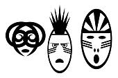 set of black and white African mask