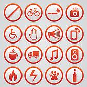 Set of vector warning signs with re