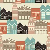 Vector seamless pattern with house