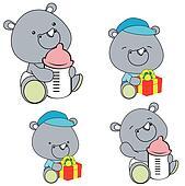 rhino baby diaper cartoon set