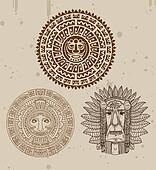 collection of indian tattoos with maya faces