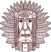 vector tattoo with indian face - illustration