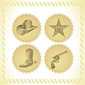 vector cowboy icon set