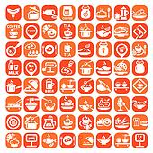 big food icon set