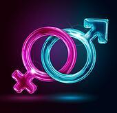 male and female gender symbols on black background