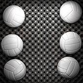 Volleyball ball and metal wall background