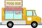 food bus with awning and sign board