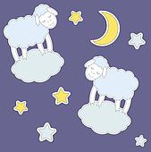 Cute sheep,moon and stars