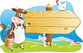 Funny farm animals wooden signboard