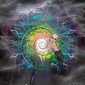 Spiral of time and energy explode from man as a god reveals himself