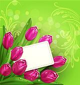 congratulatory background of tulips and card