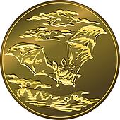 vector gold money coin with flying bat