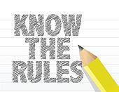 Know The Rules written on a blank notepad paper
