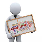 3d businessman holding leadership wordcloud