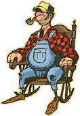 Elderly Man In Rocking Chair