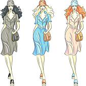 Vector fashion girls top models in dresses and hats