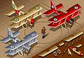 Isometric Old Vintage Biplanes in Front View