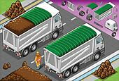 Isometric Load Container Truck