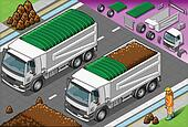 Isometric Load Container Truck in Front View