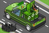 Isometric Garbage Pick Up in Rear View