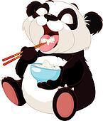 Cute panda eating rice
