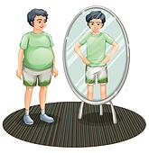 A fat man outside the mirror and a skinny man inside the mirror