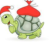 Christmas turtle cartoon
