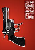 Revolver on red background
