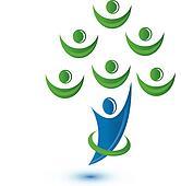 Teamwork group as a tree logo
