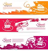 Set of vintage bakery banners with cupcakes. Menu for restaurant