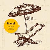 Vintage travel background with beach armchair and umbrella. Hand