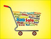 Shopping Cart Illustration: Mega or Big Summer Sale Shopping Cart Banner with all key texts related to Sale